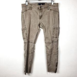 HOLLISTER Tan Crop Raw Hem Zip Ankle Khaki Jeans 9